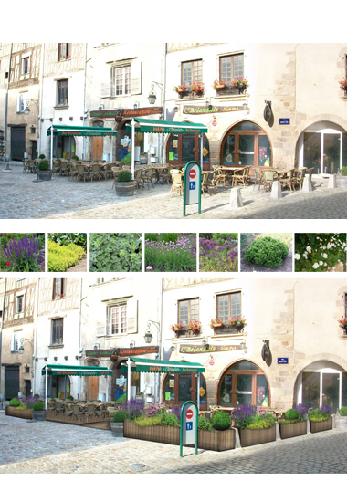 Conception d'une terrasse de bar-brasserie :<br/> photo existant / Photomontage projet.
